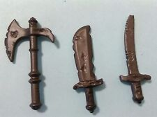 PLAYMOBIL LOTE 3U ARMAS ANTIGUAS PIRATAS MACHETE HACHA ESPADA SWORD AXE PIRATE