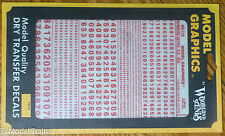Woodland Scenics #729 (Red) Dry Transfer Numbers Only - Railroad Gothic -- Size