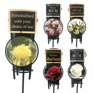 Personalised Memorial Spike Flower Vase & Plaque Roses & Lily Funeral Pot Stake