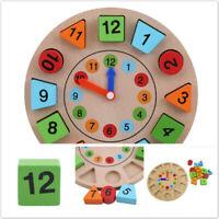 3D Clock Kids Blocks Child Wooden Digital Geometry Beads Toys DIY Gifts LG