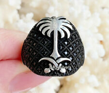 Fashion Design Palm Tree Saudia 925 Sterling Silver Black Zircon Men Woman RING
