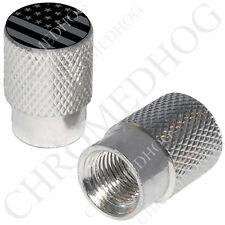 2 Silver Billet Aluminum - Tire Valve Stem Cap for Motorcycle - Ghost Flag Usa