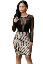 Ladies Black Sequin Mesh Bodycon Mini Long Sleeved Party Dress Size 10
