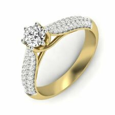 0.50ct VS - F Moissanite With Natural Diamond Halo Engagement Ring  in Gold