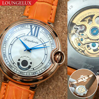Mens Automatic Mechanical Watch - Rose Gold White Dial Orange Leather Deployant