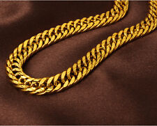 MEN'S HEAVY 24K SOLID GOLD FILLED FINISH THICK MIAMI CUBAN LINK NECKLACE CHAIN