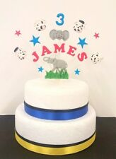 Elephant, cow  birthday cake topper / decoration, personalised name, age circus