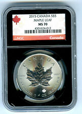2015 $5 CANADA 1 OZ SILVER MAPLE LEAF NGC MS70 RARE RETRO BLACK HOLDER RED LABEL