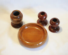4 Pieces Mid Century California Redwood Vase Bowl Candlesticks Hand Turned Wood