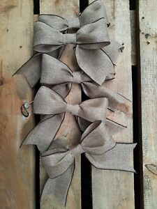 5 x LARGE NATURAL HESSIAN JUTE RIBBON BOWS FOR CHRISTMAS TREE WREATHS WEDDING