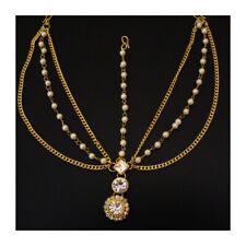 Indian Gold Pearl Bollywood Bridal Hair ForeHead Matha Patti Chain Tiara Jewelry