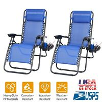 1-2Pcs Zero Gravity Folding Chairs Lounge Patio Chairs Beach w/Cup Holders