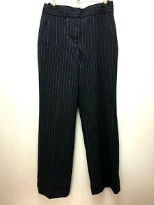 La Redoute NAVY BLUE pin striped BEST wide leg dress trousers UK 8 EU 36 30L NEW