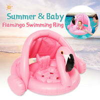 Sunshade Inflatable Baby Kid Seat Pool Flamingo Swimming Ring Beach Toy Fun