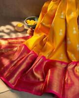 Designer Yellow Silk Blend Jacquard Saree Sari Blouse Rich Pallu Indian Women