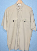 Mens Lacoste Devanlay Beige Sand Short Sleeve Pocketed Shirt Cotton 40 Fits L/XL