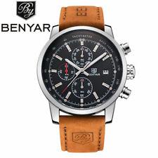 BENYAR Men's Date Pilot Military Leather Strap Sport Quartz Wrist Watch Gift Box
