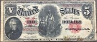 USA 5 Dollar 1907 United States Note Large Size Selten Banknote #17837