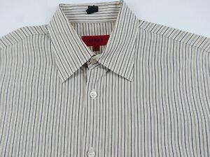 Hugo Boss Mens Cotton Long Sleeve Button Down Tan Brown Striped Dress Shirt M
