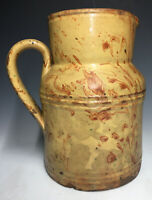 Antique Early American Redware Pottery Pitcher w/ Marbleized Slip Glaze Incised