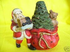 "Santa With Gifts Tree & Bear Ceramic 4.5"" Votive Candle Holder"