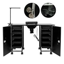 New Manicure Nail Table Mobile Station Steel Frame Spa Salon Equipment Lockable