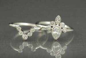 1.68 Ct Diamond Bezel Set Engagement Anniversary Bridal Ring Set 14K White Gold