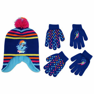 Hasbro My Little Pony Hat and 2 Pair Gloves or Mittens Cold Weather Set, Age 2-7