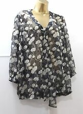 East Blouse Shirt 16 Black Multi Floral Sheer Long Sleeve Pussy Bow Top Smart