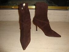 GORGEOUS NEW $1,395 BROWN CRISS CROSS BRAID SUEDE MANOLO BLAHNIK ANKLE BOOTS