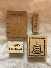 Lot Of 4 Party Birthday Invitation Rubber Stamps