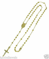 """14K Yellow Gold Virgin Milagrosa Cross Rosary Moon Cut Beads Necklace 3mm 18"""""""