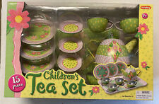 Schylling Children's 15 Pc Tin Tea Set  NEW Garden Tea Party