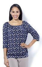 Kim & Co Brushed Venechia Printed Boho Top 3xl Navy Multi