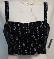 Women Lorimer NYC Black & White Crop Top Size Large Sleeveless Stretch