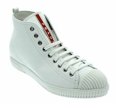 Prada Sneakers High Top Leather Shoes White Size 9.5US/39.5UK New