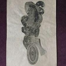 Papier Peint Ancien Fin XVIIIè Grisaille Portrait Femme Wallpaper Last 18thC