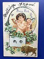 Children's Good Luck Greetings Antique Postcard Novelty w Buffalo, Pig & Glitter