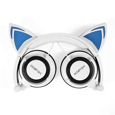 Gato Oreja Auricular con luces LED Brillantes para Juegos para Android-Blanco