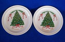 VTG Lillian Vernon CHRISTMAS TREE 1978, 2 Plates RIBBONS CARRIGALINE IRELAND EUC