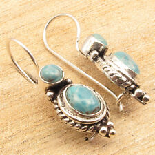 "925 Silver Plated Earrings 1 1/8"" !! Simulated LARIMAR Double Stone Jewelry"