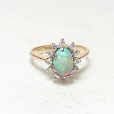 Estate 14K Yellow Gold 0.45 Ct Natural Oval Colorful Opal And Diamond Halo Ring