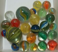25 Vintage Classic Cats Eye Marbles Multicolor Yellow Red Shooters Pee-wee Sweet