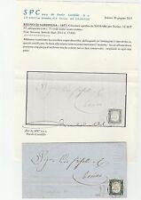 STORIA POSTALE 1857 SARDEGNA C.5 VERDE MIRTO SCURO SU CIRCOLARE Z/5498