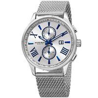 Men's Akribos XXIV AK905SS Multi-Function Silver Dial Stainless Steel Mesh Watch