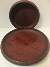 """Pair of California Redwood Lathe Turned Bowls 7 1/2"""" & 9 1/2"""" One Has Label"""