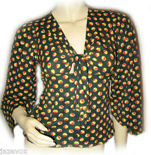 Womens Bell 3/4 Sleeve V-Neck Top Blouse sz S Olive Green Yellow Red Polka Dots