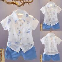 Summer Toddler Baby Boy Short Sleeve Cotton Print T-Shirts+Denim Shorts Outfit K