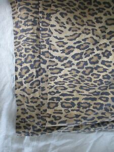 Ralph Lauren Aragon cotton tan black leopard cheetah bed sheet flat double Full