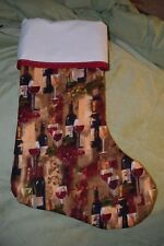 NEW!! Handmade Christmas Stocking Wine print,COMPLETELY LINED